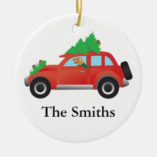 Golden Retriever Driving car with Christmas tree Ceramic Ornament