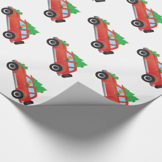 Golden Retriever Driving car with Christmas tree Wrapping Paper