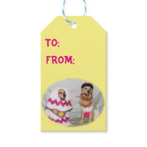 Golden Retriever Easter Bunny and Egg Gift Tags