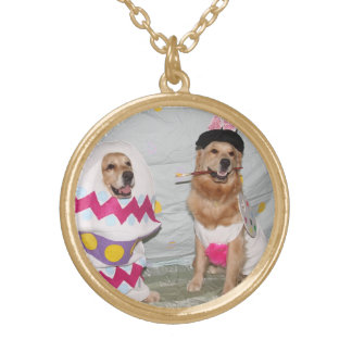 Golden Retriever Easter Bunny and Egg Gold Plated Necklace