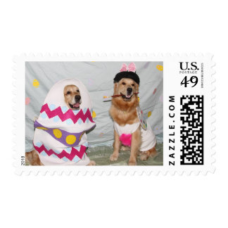 Golden Retriever Easter Bunny and Egg Stamp