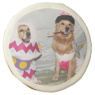 Golden Retriever Easter Bunny and Egg Sugar Cookie