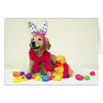 Golden Retriever Easter Bunny Card