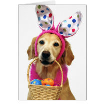 Golden Retriever Easter Bunny Card