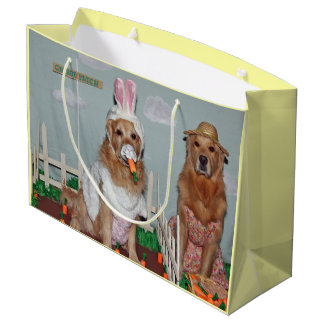 Golden Retriever Easter Bunny Carrot Patch Large Gift Bag