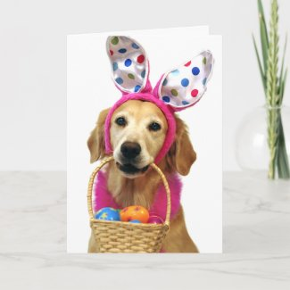 Golden Retriever Easter Bunny Holiday Card