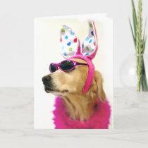 Golden Retriever Easter Princess Holiday Card
