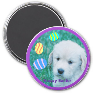 Golden Retriever Easter Puppy Cards & Gifts 3 Inch Round Magnet