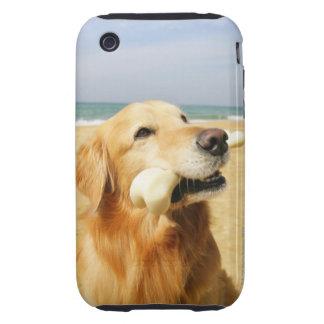 Golden Retriever eating bone iPhone 3 Tough Covers