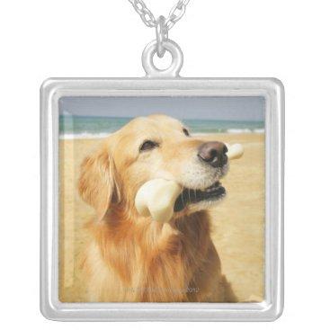 Beach Themed Golden Retriever eating bone Silver Plated Necklace
