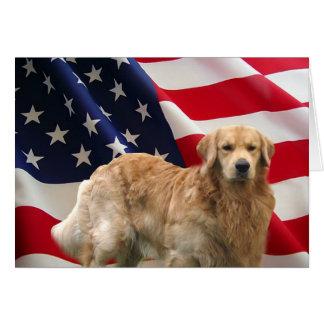 Golden Retriever Eddie American Flag Card