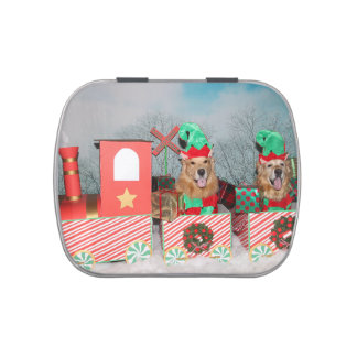 Golden Retriever Elves on Christmas Train Jelly Belly Candy Tin