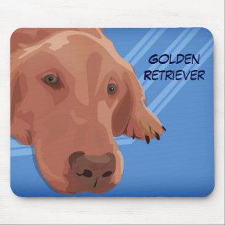 Golden retriever en el fondo azul - arte del mouse pads