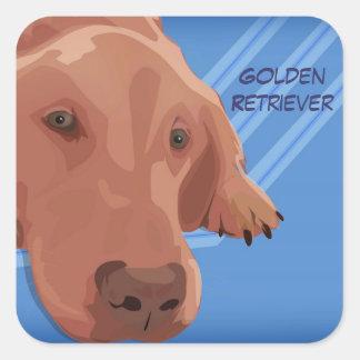 Golden retriever en el fondo azul - arte del pegatina cuadrada