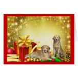 Golden Retriever Father & Son Christmas Card