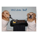Golden Retriever Father's Day Barbecue Greeting Card