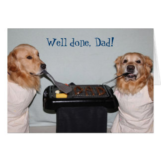 Golden Retriever Father's Day Barbecue Card