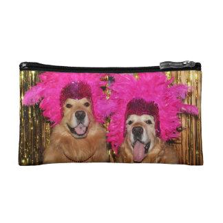 Golden Retriever Feathered Showgirls Makeup Bag