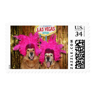Golden Retriever Feathered Showgirls Postage
