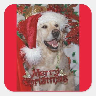 Golden retriever feliz en el navidad pegatina cuadrada