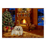 Golden Retriever Fireplace  Christmas Card