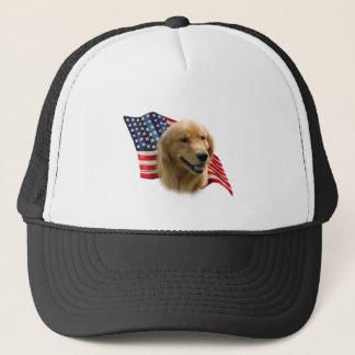 Golden Retriever Flag Trucker Hat