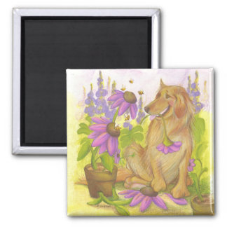 Golden Retriever, Flowers & Bees / Magnet 2 Inch Square Magnet