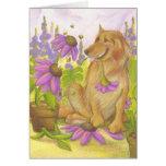 Golden Retriever, Flowers & Bees / Notecard