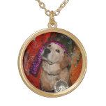 Golden Retriever Fortune Teller Round Pendant Necklace