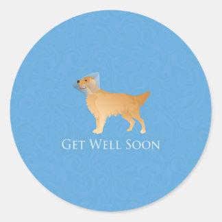 Golden Retriever Get Well Soon Classic Round Sticker