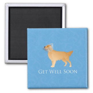 Golden Retriever Get Well Soon 2 Inch Square Magnet