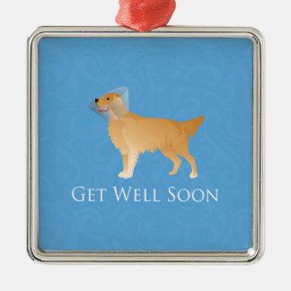 Golden Retriever Get Well Soon Metal Ornament
