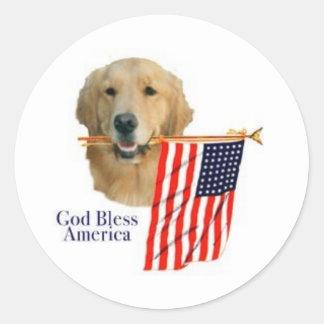 Golden Retriever God Bless America Sticker