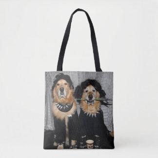 Golden Retriever Goth Style Tote Bag