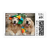 Golden Retriever Groovy Postage Stamp