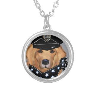 Golden Retriever Guard Dog Silver Plated Necklace