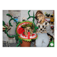 Golden Retriever Halloween Man Eating Plant Card