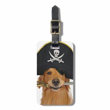 Halloween Themed Golden Retriever Halloween Pirate Bag Tag
