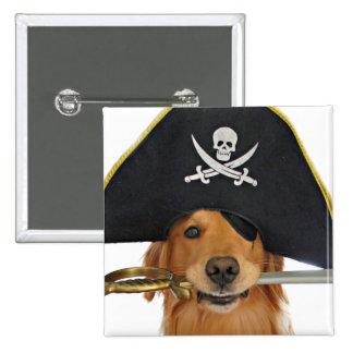 Golden Retriever Halloween Pirate Button