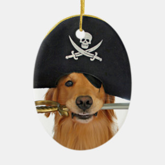 Golden Retriever Halloween Pirate Double-Sided Oval Ceramic Christmas Ornament