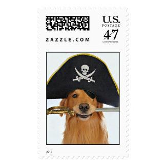 Golden Retriever Halloween Pirate Postage