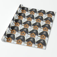 Golden Retriever Halloween Pirate Wrapping Paper