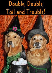 golden retriever halloween witches card