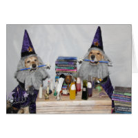 Golden Retriever Halloween Wizards Card