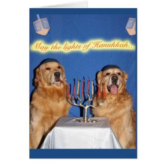 Golden Retriever Hanukkah Menorah Lighting Card