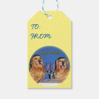 Golden Retriever Hanukkah Menorah Lighting Gift Tags