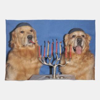 Golden Retriever Hanukkah Menorah Lighting Hand Towel