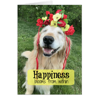 Golden Retriever Happiness Blooms From Within Card