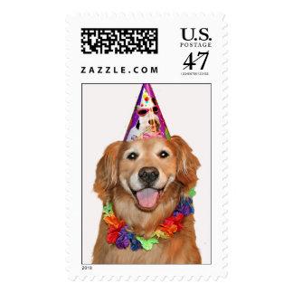 Golden Retriever Happy Birthday Stamp