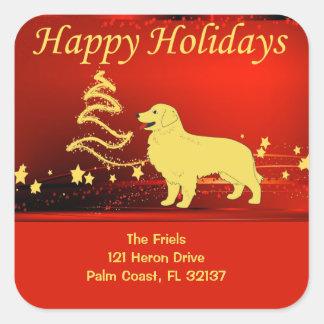 Golden Retriever Happy Holidays Address Sticker